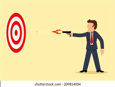 Simple cartoon of a businessman shooting a target