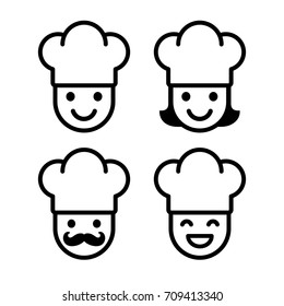 Simple cartoon chef icon set. Male and female, with mustache and chef hat.