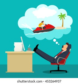 Simple cartoon of daydreaming businessman in office about playing jet ski during his vacation