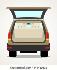 Simple cartoon of an empty car baggage compartment
