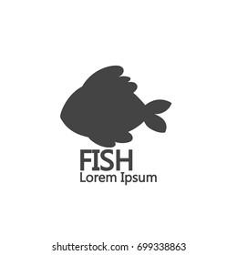 Simple cartoon fish logo. on white background