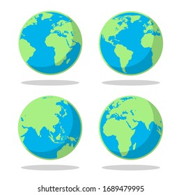 Simple cartoon flat earth planet symbols. Globe map circle design vector color silhouettes for world geography travel and exploring illustrations