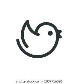 Simple cartoon flying bird logo. Geometric line icon, minimal vector illustration.