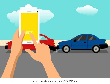 Simple cartoon of hand ready to call using a cellular phone after car accident