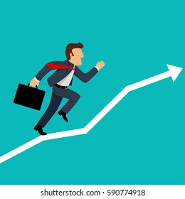 Simple cartoon illustration of a businessman running on graphic chart