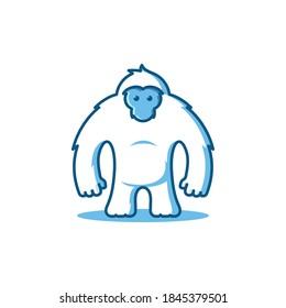 Simple cartoon illustration logo of a yeti or white gorilla