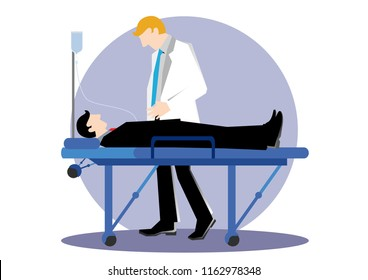 Simple cartoon illustration of a man taking care by doctor
