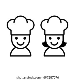 Simple cartoon male and female cook with chef hat. Cooking character icon or logo, vector illustration.
