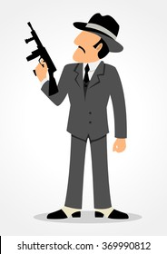 Simple cartoon of a man holding a tommy gun. Mafia, mobster and gangster theme
