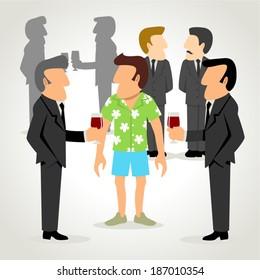 Simple cartoon of a man wearing hawaiian shirt among people wearing formal suit