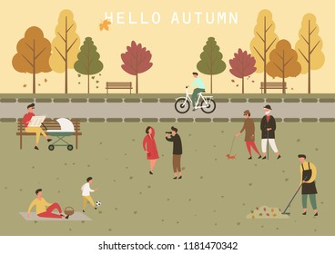 Simple cartoon people at autumn park. Man with stroller and couple walking with dog and taking photo, children playing ball and boy on bicycle. Fall season and people leisure, outdoor theme