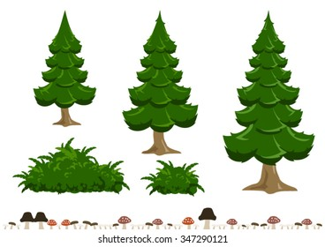 Simple Cartoon Pine Tree Bush And Mushroom Illustration