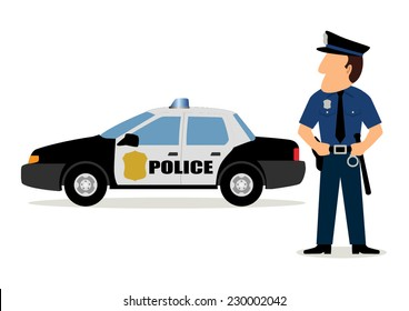 Simple cartoon of a policeman and police car
