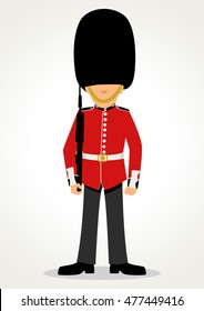 Simple cartoon of a Queen's Guard in traditional uniform, British soldier isolated on white