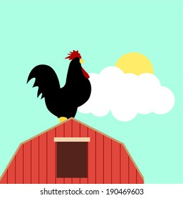 Simple cartoon of a rooster on top of a barn
