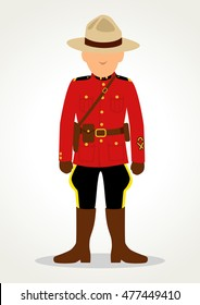 Simple cartoon of Royal Canadian Mounted Police isolated on white