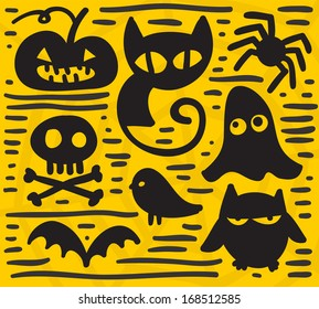 Simple cartoon silhouettes for your Halloween design.