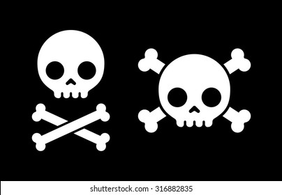 "Simple cartoon skull and crossbones icon, two variants. Halloween design element or classic ""Jolly Roger"" pirate flag."
