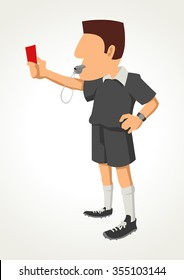 Simple cartoon of a soccer referee showing red card