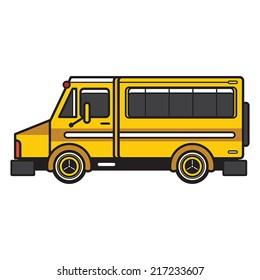 A simple cartoon van that modified as a school bus colour vibrant