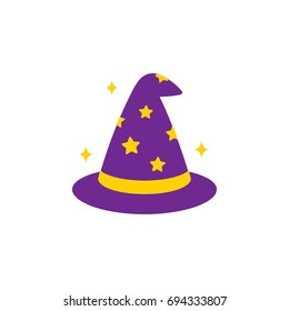 Simple cartoon wizard hat icon, vector illustration.