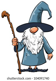 Simple Cartoon Wizard with staff. Isolated on white