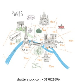 Simple Cartooned Map o Paris with Legend Icons. France