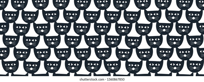 Simple cat faces seamless pattern  in black and white colors. Vector illustration for fabric and decoration.