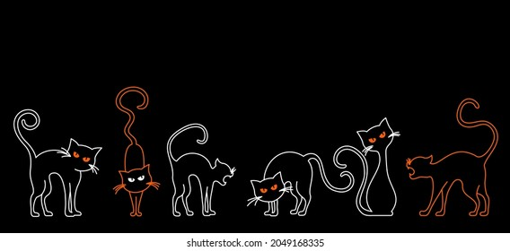 Simple cat silhouettes on black. Vector set of cat neon line drawing.