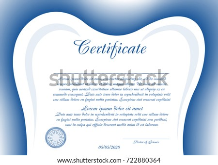 Simple Certificate Diploma Dentistry Toothshaped Frame Stock Vector