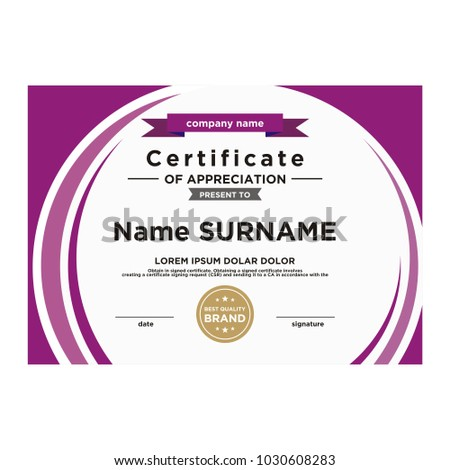 Simple Certificate Template Stock Vector Royalty Free 1030608283