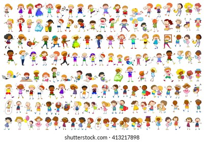 Simple characters in different actions illustration