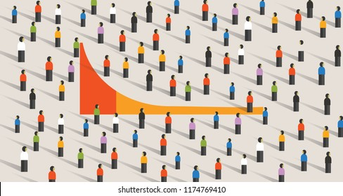 Simple chart of Long tail marketing theory for business strategy, vector illustration of crowd in color