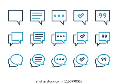 Simple chat related line icon set.