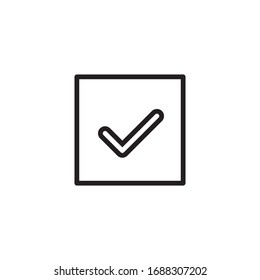 Simple check line icon. Stroke pictogram. Vector illustration isolated on a white background. Premium quality symbol. Vector sign for mobile app and web sites.