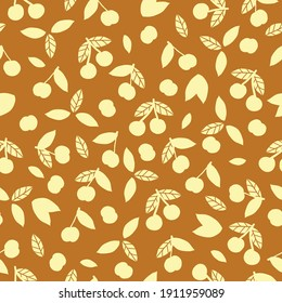 Simple cherry pattern abstract. Mustard background. pale yellow cherry leaf ornament. vector texture. trend print for textiles and wallpaper.