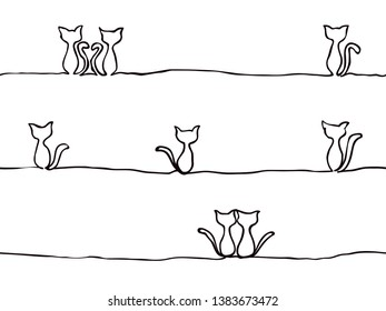simple childish continuous lines sitting cat seamless pattern for background, wallpaper, texture, banner, label, cover, card etc to celebrate day like holloween's day. vector design