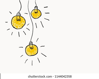 simple childish drawing lines yellow color lightbulbs for background, texture, wallpaper, banner, label etc with copy space. vector design