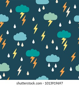 Simple children's doodle pattern with clouds. Seamless pattern with lightning rain. Background for poster, cover booklet, banner, surface design.