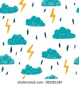 Simple children's doodle pattern with clouds.Cheerful hand drawn cloud.Seamless pattern with lightning rain.Futuristic blue clouds. Background for poster, cover booklet, banner, surface design.