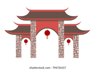 Simple Chinese pavilion gate. Vector illustration of a gate. Isolated on white background.