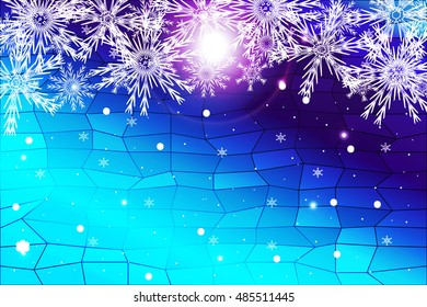 simple christmas blue background with snowflake. vector illustration. for design