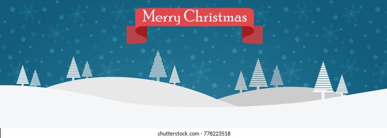 Simple christmas card with a house, white firs  and red greeting ribbon on a blue snowy background