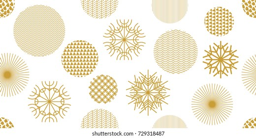Simple Christmas seamless pattern with geometric motifs. Snowflakes and circles with different ornaments. Retro textile collection. On white background.