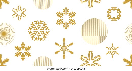 Simple Christmas seamless pattern with trendy geometric motifs. Golden snowflakes and circles with different ornaments. Retro design collection. On white background.