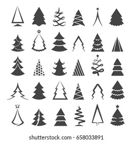 Simple christmas tree icons isolated on white background. Vector drawing xmas trees stylized black silhouette symbols