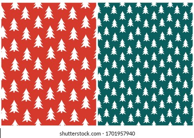 Simple Christmas Tree Seamless Vector Patterns. White Tree Isolated on a Dark Green and Red Background.  Lovely Winter Holidays Print.