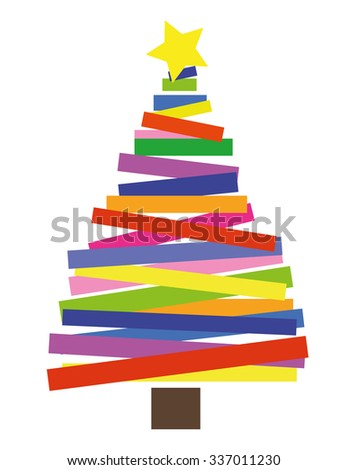 simple christmas tree shape made from coloured strips or rectangles with a gold star on top - Simple Christmas Tree