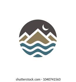 Simple circular Mountain and Sea logo design inspiration