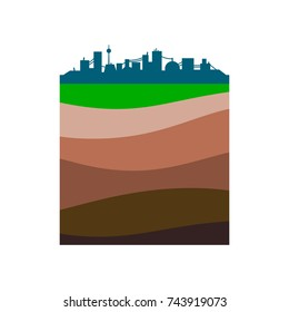 Simple city silhouette. Layers of the earth. Schematic illustration isolated on white background. Flat design.